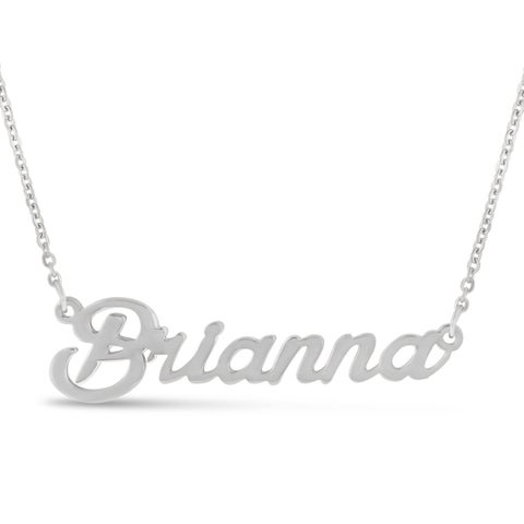 Silver Over Brass 'Brianna' Nameplate Necklace