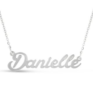 Silver Over Brass 'Danielle' Nameplate Necklace