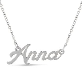 Silver Overlay 'Anna' Nameplate Necklace