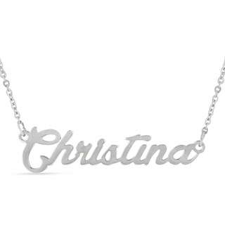 Silver Overlay 'Christina' Nameplate Necklace