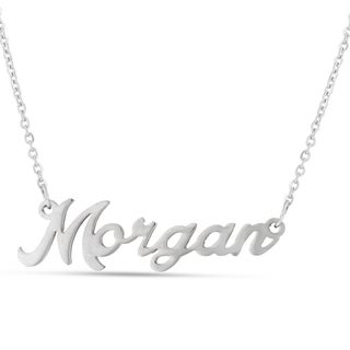 Silver Overlay 'Morgan' Nameplate Necklace