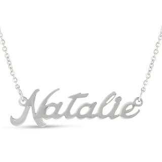 Silver Overlay 'Natalie' Nameplate Necklace