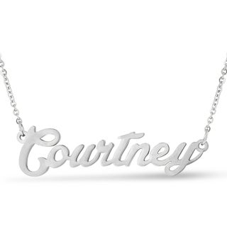 Silver Overlay 'Courtney' Nameplate Necklace