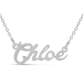 Silver Overlay 'Chloe' Nameplate Necklace