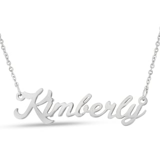Silver Overlay 'Kimberly' Nameplate Necklace