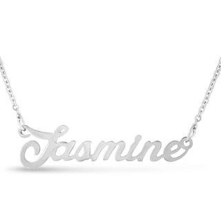 Silver Overlay 'Jasmine' Nameplate Necklace