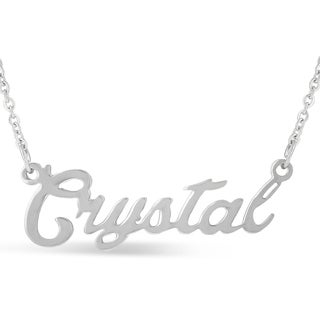 Silver Overlay 'Crystal' Nameplate Necklace