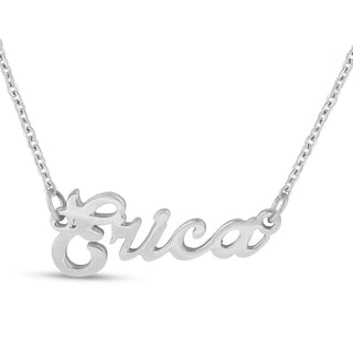 Silver Overlay 'Erica' Nameplate Necklace