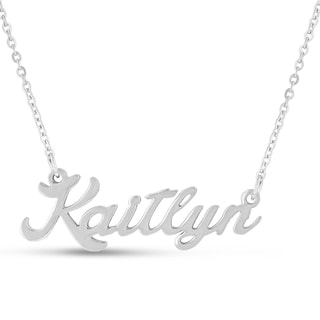 Silver Overlay 'Kaitlyn' Nameplate Necklace