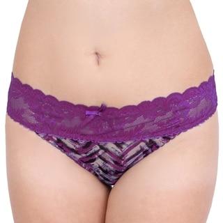 Prestige Biatta Katty Mesh Purple Velvet Lace Thong
