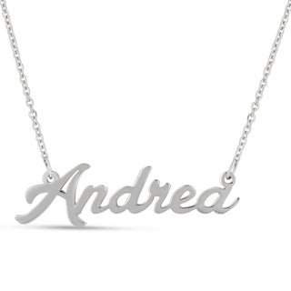 Silver Overlay 'Andrea' Nameplate Necklace