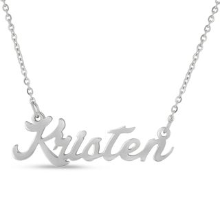 Silver Overlay 'Kristen' Nameplate Necklace