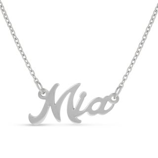 Silver Overlay 'Mia' Nameplate Necklace
