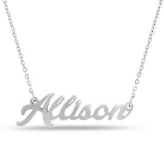 Silver Overlay 'Allison' Nameplate Necklace