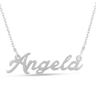 Silver Overlay 'Angela' Nameplate Necklace