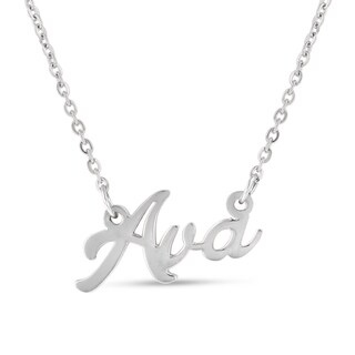 Silver Overlay 'Ava' Nameplate Necklace