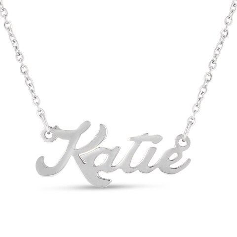 Silver Over Brass 'Katie' Nameplate Necklace