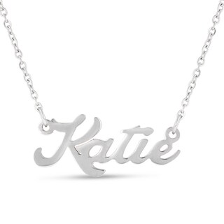 Silver Overlay 'Katie' Nameplate Necklace