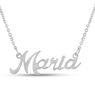 Silver Overlay 'Maria' Nameplate Necklace