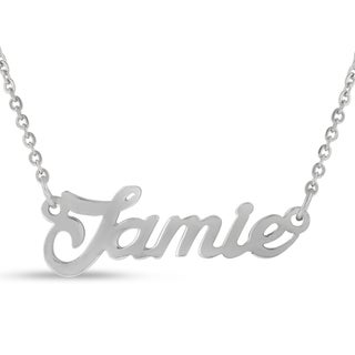 Silver Overlay 'Jamie' Nameplate Necklace