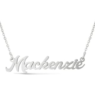 Silver Overlay 'Mackenzie' Nameplate Necklace