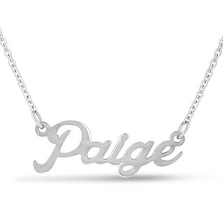 Silver Overlay 'Paige' Nameplate Necklace