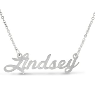 Silver Overlay 'Lindsey' Nameplate Necklace