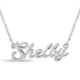 Silver Overlay 'Shelby' Nameplate Necklace