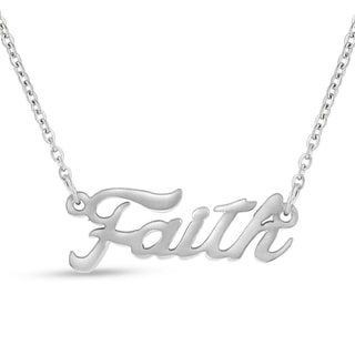 Silver Overlay 'Faith' Nameplate Necklace
