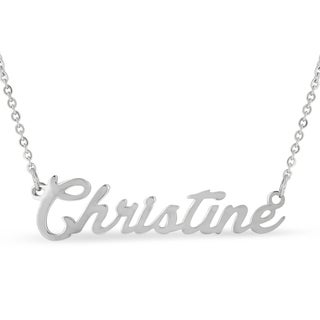 Silver Overlay 'Christine' Nameplate Necklace