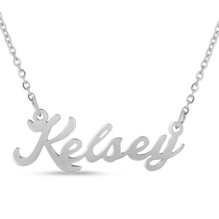 Silver Overlay 'Kelsey' Nameplate Necklace