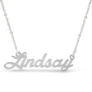 Silver Overlay 'Lindsay' Nameplate Necklace