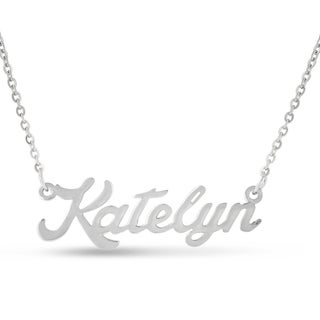 Silver Overlay 'Katelyn' Nameplate Necklace