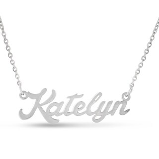 Silver Over Brass 'Katelyn' Nameplate Necklace