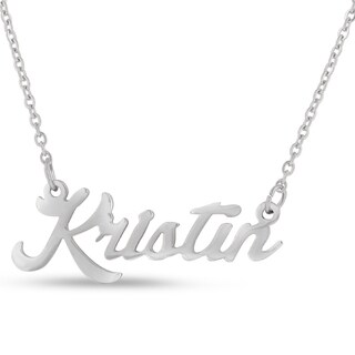 Silver Overlay 'Kristin' Nameplate Necklace