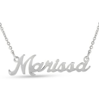 Silver Over Brass 'Marissa' Nameplate Necklace