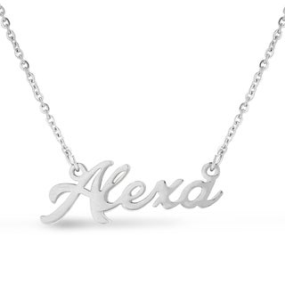 Silver Overlay 'Alexa' Nameplate Necklace