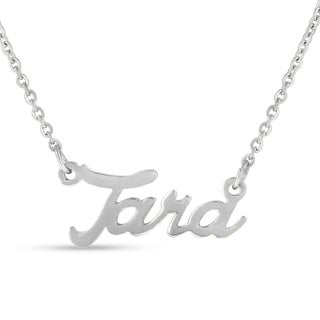 Silver Over Brass 'Tara' Nameplate Necklace