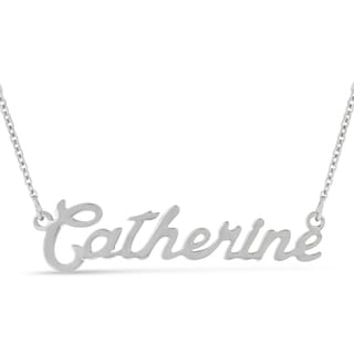 Silver Over Brass 'Catherine' Nameplate Necklace