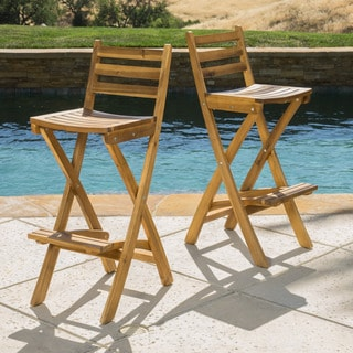 Tundra Outdoor Acacia Wood Barstool (Set of 2) by Christopher Knight Home