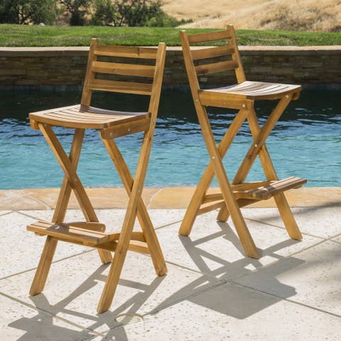 Tundra Outdoor Acacia Wood Bar Stool by Christopher Knight Home (Set of 2)