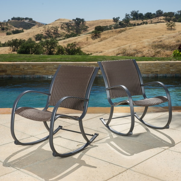 Gracieu0027s Outdoor Wicker Rocking Chair (Set Of 2) By Christopher Knight Home