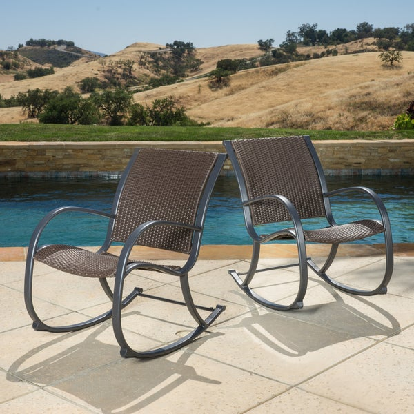 shop gracie 39 s outdoor wicker rocking chair set of 2 by christopher knight home free shipping. Black Bedroom Furniture Sets. Home Design Ideas