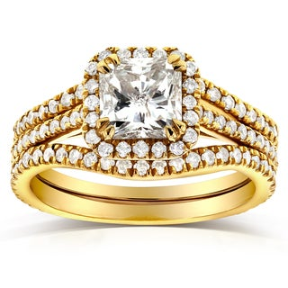 Annello by Kobelli 14k Yellow Gold 1 3/4ct TDW Radiant-cut Halo Diamond 3-Piece Bridal Rings Set