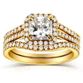 Annello by Kobelli 14k Yellow Gold 1 3/4ct TDW Radiant-cut Halo Diamond 3-Piece Bridal Rings Set