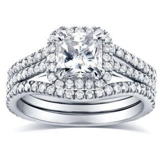 Annello 14k White Gold 1 3/4ct TDW Radiant-cut Halo Diamond 3-Piece Bridal Rings Set (G-H, I1-I2)