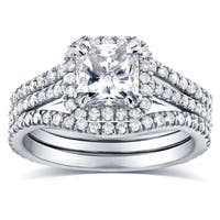 Annello by Kobelli 14k White Gold 1 3/4ct TDW Radiant-cut Halo Diamond 3-Piece Bridal Rings Set