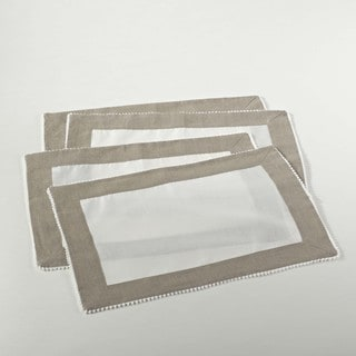 Two-tone Linen Blend Placemat with Knotted Border (Set of 4)