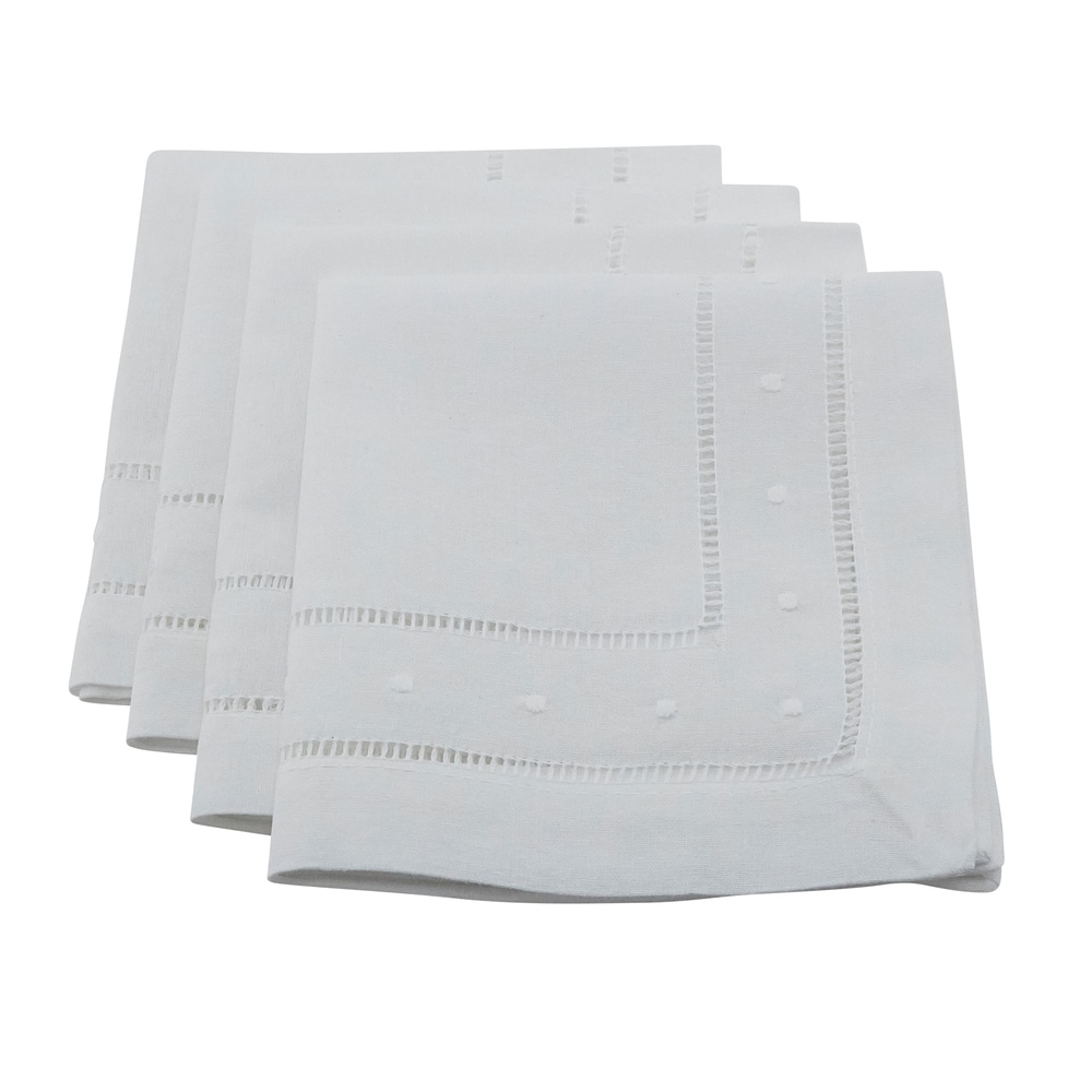 Shop Embroidered Dot and Hemstitched Napkin (Set of 4) - Overstock - 10104612
