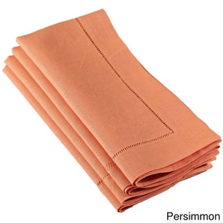 Hemstitched Dinner Napkin (Set of 4) Multiple Colors (Option: Persimmon)
